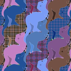 Blue and Purple Plaid Tessellating Tyrannosaurs