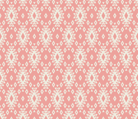 Aztec - Coral & Cream fabric by bohemiangypsyjane on Spoonflower - custom fabric
