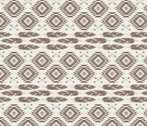 Native Roots - Cream - Brown fabric by bohemiangypsyjane on Spoonflower - custom fabric