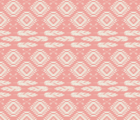 Native Roots - Coral & Cream fabric by bohemiangypsyjane on Spoonflower - custom fabric
