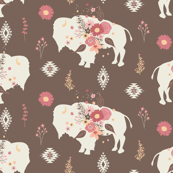 Floral Tribal Buffalo - Brown