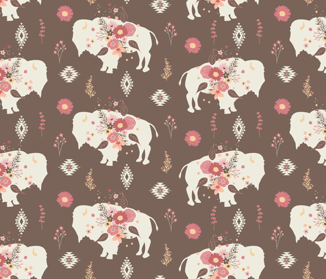 Floral Tribal Buffalo - Brown fabric by bohemiangypsyjane on Spoonflower - custom fabric
