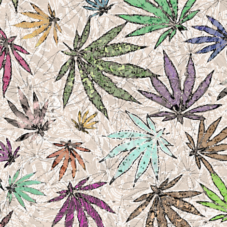 Colored Textured Pot Leaves fabric by camomoto on Spoonflower - custom fabric