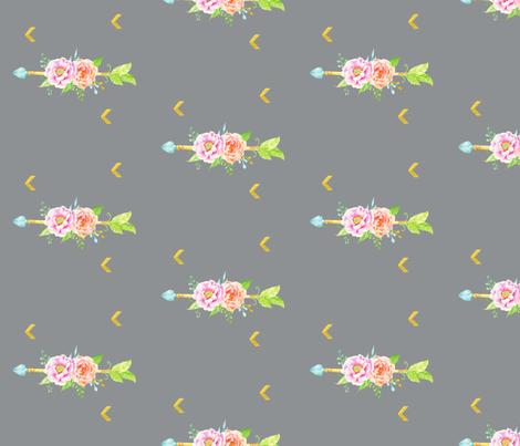 floral_arrow_grey fabric by graceandcruzdesigns on Spoonflower - custom fabric