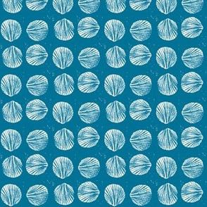 razor clam block print in sky blue