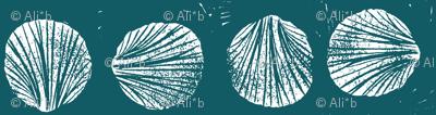 razor clam block print in ocean