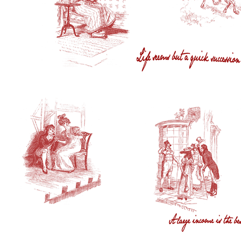 Mansfield Park Toile Red fabric by abucksworth on Spoonflower - custom fabric