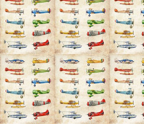 Vintage Planes fabric by mandamade4u on Spoonflower - custom fabric