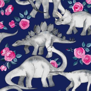 Dinosaurs and Roses on Dark Blue Purple