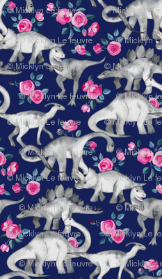 Tiny Dinosaurs and Roses on Dark Blue Purple