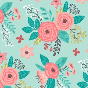 Vintage Antique Floral Flowers on Mint Green