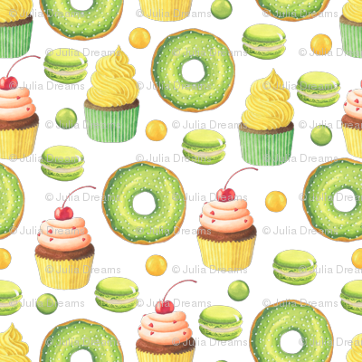Green Donut and Cupcake
