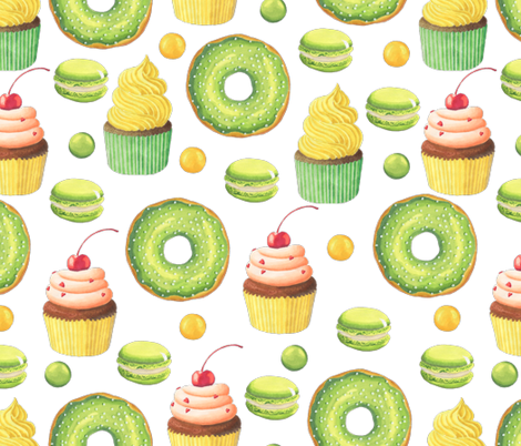 Green Donut and Cupcake fabric by julia_dreams on Spoonflower - custom fabric