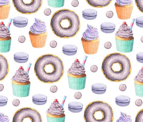 Purple Donut and Cupcake fabric by julia_dreams on Spoonflower - custom fabric