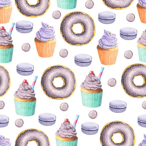 Purple Donut and Cupcake