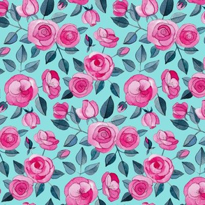 Pink Watercolor Roses on Turquoise Blue