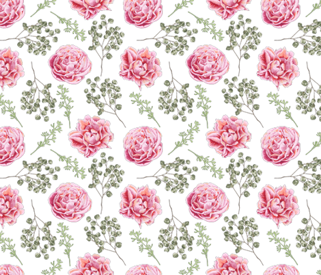Peony and Rose fabric by julia_dreams on Spoonflower - custom fabric