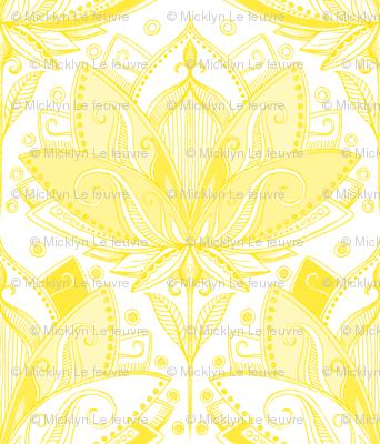 Sunshine Yellow Art Nouveau Lotus Lace