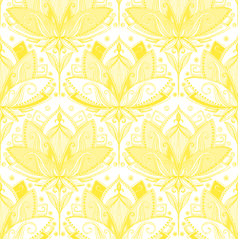 Sunshine Yellow Art Nouveau Lotus Lace fabric by micklyn on Spoonflower - custom fabric
