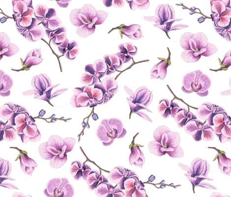 Purple Orchid Flower fabric by julia_dreams on Spoonflower - custom fabric