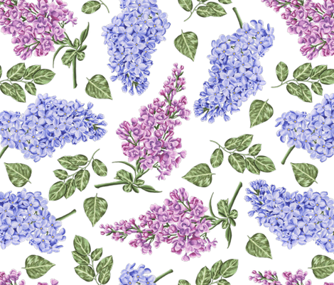 Lilac Flowers fabric by julia_dreams on Spoonflower - custom fabric