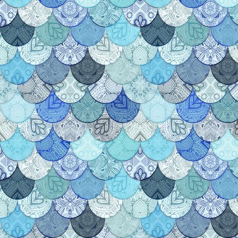 Boho Doodle Ocean Blues Mermaid Scales fabric by micklyn on Spoonflower - custom fabric