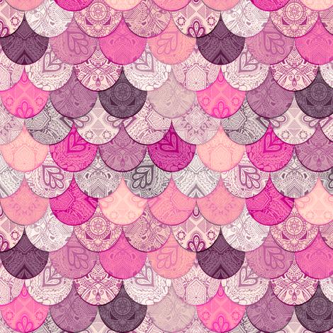 Boho Doodle Indian Magenta Mermaid Scales fabric by micklyn on Spoonflower - custom fabric