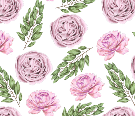 Pink Garden Rose and Peony fabric by julia_dreams on Spoonflower - custom fabric