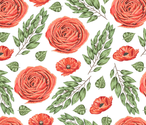 Red Rose and Poppy fabric by julia_dreams on Spoonflower - custom fabric
