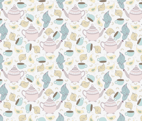Kids Tea Party with Birds fabric by julia_dreams on Spoonflower - custom fabric