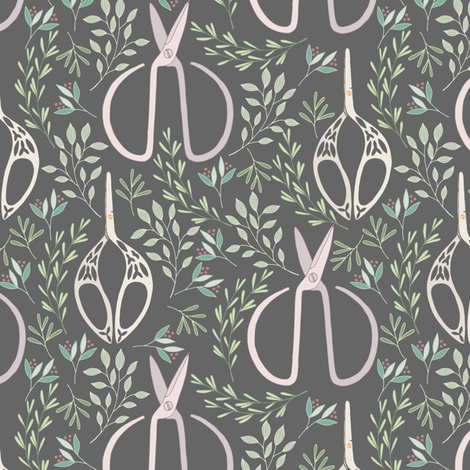 Garden Flower Floral and Scissors fabric by julia_dreams on Spoonflower - custom fabric