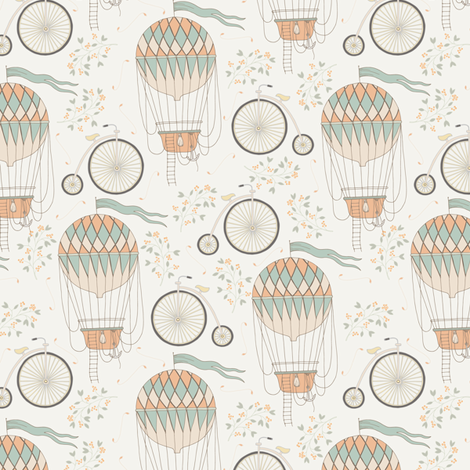 Vintage Bicycle and Air Balloon fabric by julia_dreams on Spoonflower - custom fabric