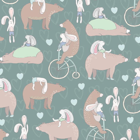 Cute Forest Animals Bear and Rabbit fabric by julia_dreams on Spoonflower - custom fabric