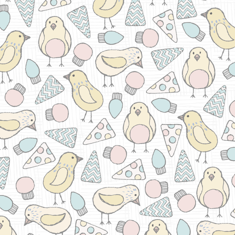 Baby Birds Flags Holiday fabric by julia_dreams on Spoonflower - custom fabric