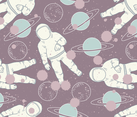 Space cosmonaut and planet fabric julia dreams spoonflower for Planet print fabric
