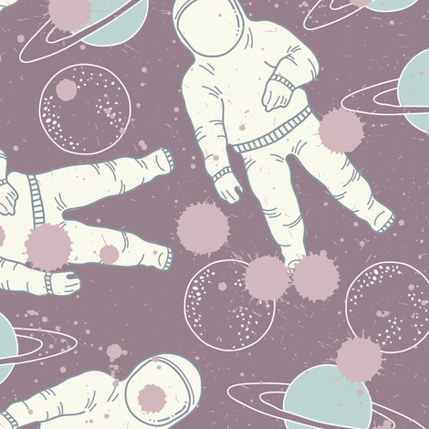 Space Cosmonaut and Planet fabric by julia_dreams on Spoonflower - custom fabric