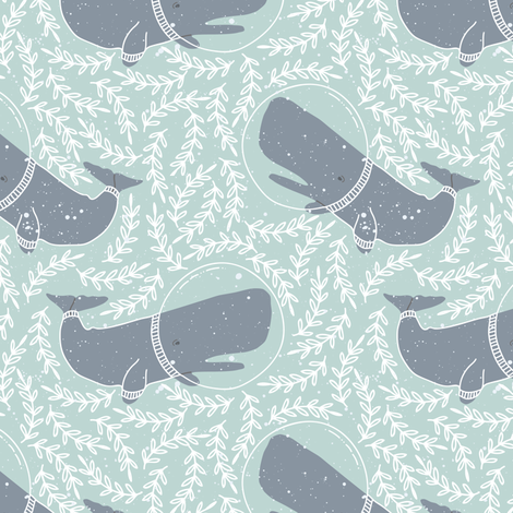 Kids Sea Whale and Floral fabric by julia_dreams on Spoonflower - custom fabric