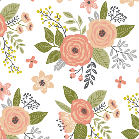 Vintage Antique Floral Flowers in peach on White fabric by caja_design on Spoonflower - custom fabric