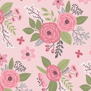 Vintage Antique Floral Flowers on Light Pink