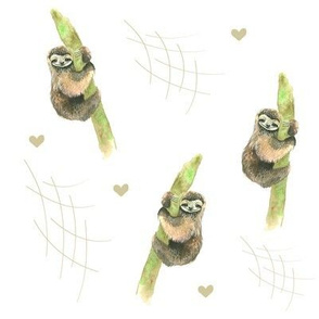Watercolor Sloths and Hearts