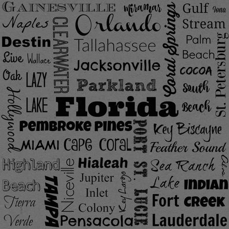 Cities of Florida, gray fabric by svester on Spoonflower - custom fabric