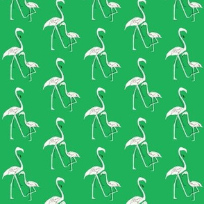Flamingo silhouette and outline in spring green