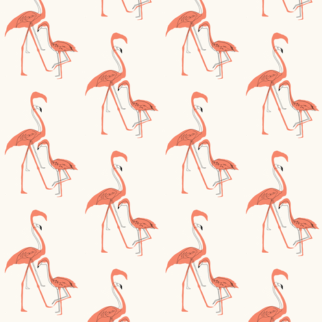 Flamingo silhouette and outline fabric carrienarducci Spoonflower