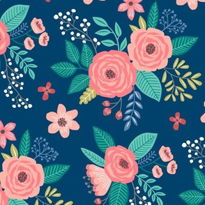 Vintage Antique Floral Flowers on Navy Blue