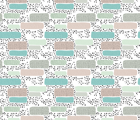 Geometric abstract dots and stripes colorful memphis style design mint blue beige fabric by littlesmilemakers on Spoonflower - custom fabric