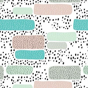 Geometric abstract dots and stripes colorful memphis style design mint blue beige