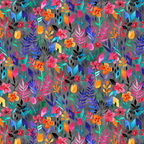 Popping Color Floral Painting on Grey Ink Small fabric by micklyn on Spoonflower - custom fabric