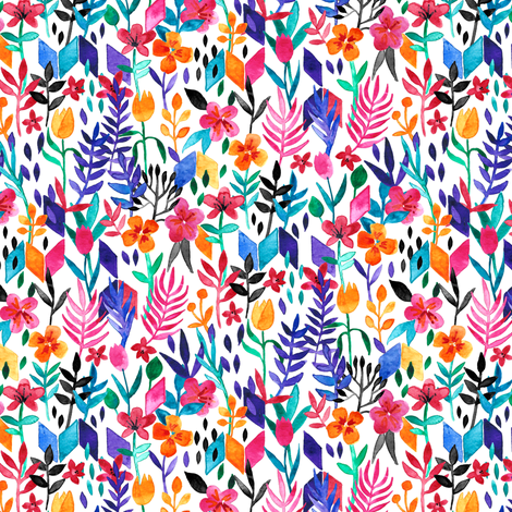 Popping Color Painted Floral on White Small fabric by micklyn on Spoonflower - custom fabric