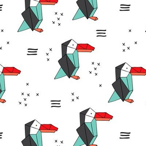 Origami paper art Puffin toucan parrot penguin birds geometric cross print gender neutral mint red