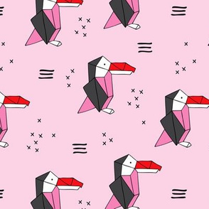 Origami paper art toucan parrot penguin birds geometric cross print girls pink summer